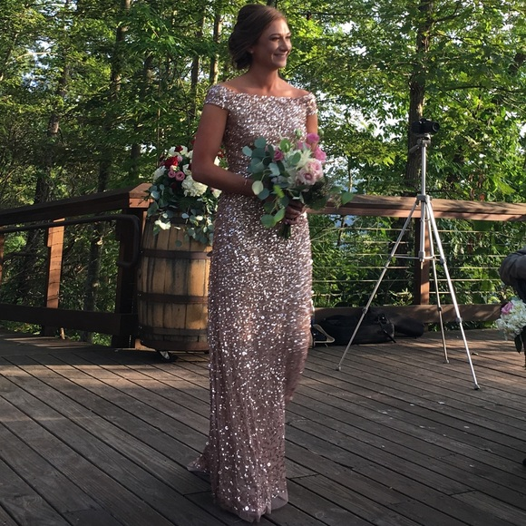 f24d1e837b Adrianna Papell Dresses & Skirts - Adrianna Papell off shoulder sequin  beaded gown